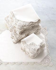 12 Crochet-Edge Tea Napkins