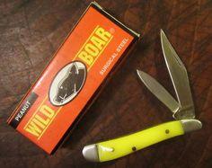 WILD BOAR SURGICAL STEEL PEANUT OLD YELLOW POCKET JACK KNIFE VTG HUNTING KNIVES
