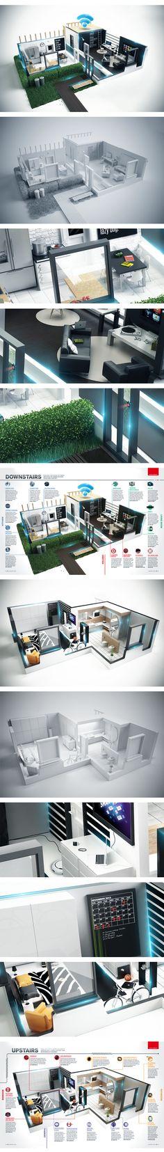 T3- The Connected Home by Peter Tarka, via Behance  #Cinema4D, #C4D, #Cinema4D, #C4D,#3D,#archictecural rendering,