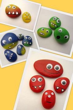 Colorful stone monsters in yellow, green, blue and red - Colorful stone monsters, yellow, gree. Crafts Fir Kids, Fall Arts And Crafts, Diy Crafts For Kids Easy, Rock Crafts, Fun Crafts, Art Sur Toile, Green Monsters, Pet Rocks, Stone Art