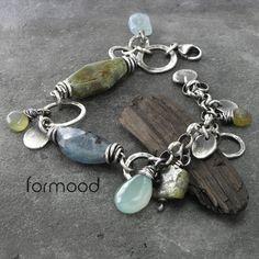 FORMOOD - kyanit, akwamaryn, zielony granat, chalcedon - bansoletka z kolekcji 'bunch'