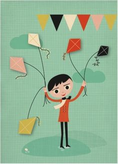 Greeting card kites by Miss Honeybird from www.kidsdinge.com https://www.facebook.com/pages/kidsdingecom-Origineel-speelgoed-hebbedingen-voor-hippe-kids/160122710686387?sk=wall