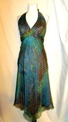Sz 8 Cache Halter Dress Greens Blues Browns Gold Threads Asymmetrical Hem #Cache #AsymmetricalHemHalterEveningDress #Clubwear