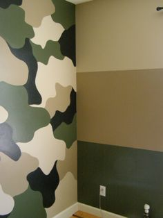 "Jerods Camo room!, My 7 year old wanted a ""new"" room. His room previously had old airplane wallpaper when we moved in (model home). He wanted something different and asked for Camo. Now, I just need ideas for accenting the walls., Boys Rooms Design"