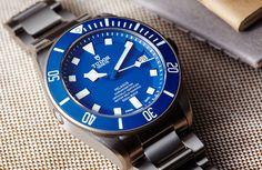 Tudor Pelagos blue with in-house movement. The Pelagos recently won the prestigious 'Best Sports Watch' award at 2015 Grand Prix d'Horlogerie de Genève