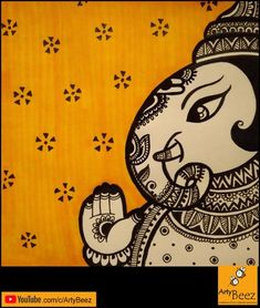How to create Ganesha in Doodle ( zentangle ) style. Doodle Art Drawing, Mandala Drawing, Cute Doodle Art, Mandala Doodle, Mandala Canvas, Madhubani Art, Madhubani Painting, Worli Painting, Painting Lessons