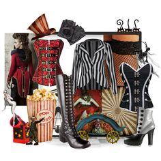 A fashion look from December 2013 featuring Boohoo tights, Pleaser boots and Miu Miu ankle booties. Browse and shop related looks. Freak Show Halloween, Halloween Circus, Creative Halloween Costumes, Halloween Party, Creepy Circus, Creepy Carnival, Carnival Costumes, Steampunk Circus, Steampunk Costume