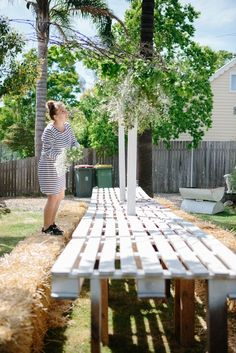 hay bale seating long table Hay Bale Seating, Hay Bales, Spring Wedding, Wedding Day, Down On The Farm, Outdoor Parties, Outdoor Furniture, Outdoor Decor, Open House