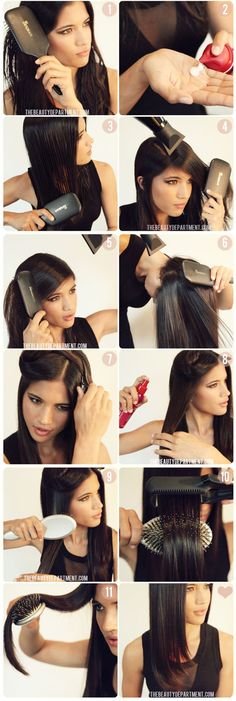 "Definitely click through for the instructions. Straight hair with a sweet bend at the bottom. ""Wrap brushing is just what it sounds like– you're using the curve of the head to help smooth out the hair."""
