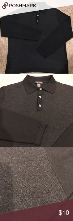 Banana Republic stretch Merino wool Polo Black and gray Banana Republic stretch Merino wool 3 button polo sweater. Gray has a light pattern.  Polo is is great shape, smoke and pet free home. Banana Republic Sweaters