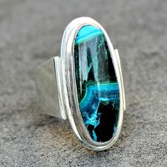 Chrysocolla Ring v Chrysocolla Silver Ring Blue by lsueszabo