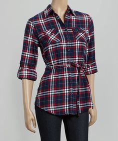 Look at this Blue & White Plaid Button-Up on #zulily today!