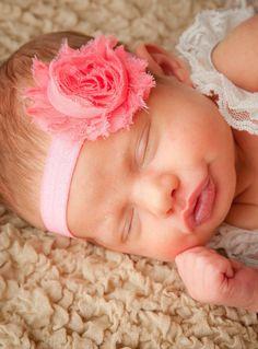 15% OFF, Pink Newborn Headband, Baby Headbands, Child Headband, Flower Headband, Photo Prop, Baby Girl Flower Headband, Baby Bows