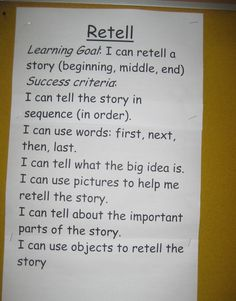 Make cheat sheets for our clients - could be a dynamic process of teaching a step, then adding it to the heat sheet. A visual form of scaffolding. Comprehension Strategies, Reading Strategies, Reading Activities, Reading Skills, Teaching Reading, Retelling Activities, Learning Targets, Learning Goals, Learning Objectives