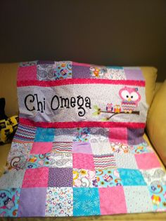 Chi Omega quilt made for Chapter auction