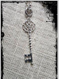 Rhinestone Encrusted Silver Tone Key Pendant by LangFamilyJewelry