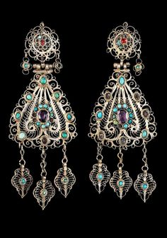 Tatarstan | Earrings; gilt metal, turquoise, stained glass | ca. 1890 - 1900