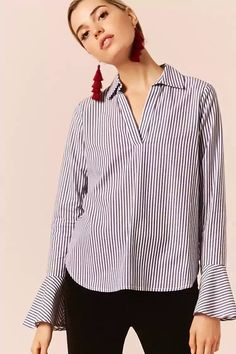 Product Name:Pinstripe Trumpet-Sleeve Shirt, Category:CLEARANCE_ZERO, Price:19.9