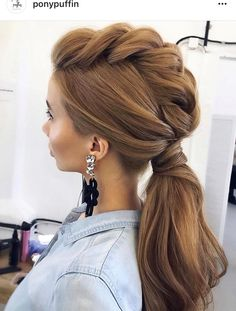 Amazing Wedding Hairstyles For Long Hair By Ulyana Aster ★ wedding hairstyle from ulyana aster volume ponytail textured on medium red hair Braided Ponytail, Ponytail Hairstyles, Pretty Hairstyles, Hairstyle Ideas, Hairstyles 2016, Mowhawk Braid, Low Ponytails, Plait Braid, Hairstyle Tutorials