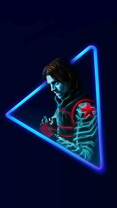 Winter Soldier:Marvel Neon Wallpaper