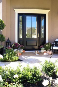 Finally revealing my Front Door Reveal with Andersen Windows and Doors. My front door is a DREAM and I am thrilled to share it completely finished. Black Exterior Doors, Black Entry Doors, Entry Door With Sidelights, Country Front Door, House Front Door, Front Porch, Front Door Design, Front Door Colors, Replacing Front Door