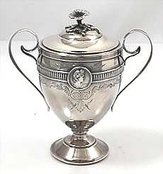 Gorham medallion coin silver  covered sugar bowl