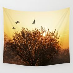 Morning mood Wall Tapestry SALES: 1 sun, rising sun, sunrise, trees, tree, silhouette, birds, geese, landscape, hazy, misty, golden, yellow, sky, moody here's another winter morning pic with flying wild geese: http://society6.com/pirminnohr/another-morning-mood#1=45