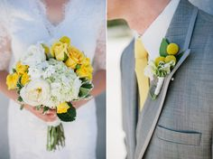 Lily + Luxe. Wedding flowers. Yellow and white bouquet / boutonniere
