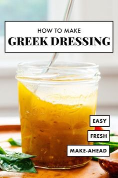 Make your own Greek dressing at home! This simple recipe yields a bold and delicious Greek vinaigrette. Drizzle it on your homemade salads and enjoy it all week long! #greekdressing #greekrecipe #saladdressing #vinaigrette #cookieandkate Vegetarian Salad Recipes, Healthy Recipes, Healthy Eats, Greek Diet, Greek Vinaigrette, Salad Dressing Recipes, Salad Dressings, Greek Salad, Dressings