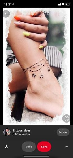 Anklet Tattoos For Women, Cute Ankle Tattoos, Ankle Tattoo For Girl, Cute Tattoos For Women, Ankle Tattoo Small, Ankle Braclet Tattoo, Charm Anklet Tattoo, Tattoo Bracelet, Jewelry Tattoo