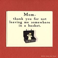 MOM THANKS For Not Leaving Me In A Basket - Funny Mother's Day Card - Funny Thank You Mom - Funny Card For Mum  - Funny Thank You Dad on Etsy, €3,21