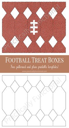 Make your own football-shaped treat boxes with these free templates! Just cut, glue, and fill with treats; perfect for a football party!