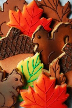 Autumn Cookies - leaves, squirrels, acorns...these are so incredibly cute...and they look delicious too!