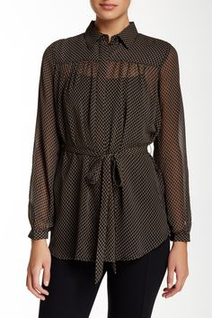 Harlowe & Graham - Long Sleeve Tie Waist Sheer Blouse at Nordstrom Rack. Free Shipping on orders over $100.