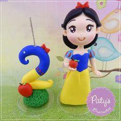 Topo com vela Branca de Neve - Princesas Disney - Paty's Biscuit