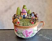 Tiny House and Garden, Fairy Garden in a Cup, Needle Felted - this should be in a cloche.