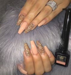 Acrylic nail ideas cuffin nails, dope nails, hair and nails, manicures, p. Nails Yellow, Peach Nails, Blue Nail, Gorgeous Nails, Pretty Nails, Hair And Nails, My Nails, Nail Art Vernis, Cute Acrylic Nails