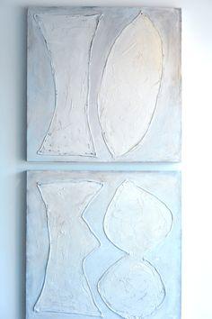 "Blanco III & IV  36"" x  36"" each  mixed media on canvas"