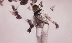 "This series of cosmonauts painted by the talented Jeremy Geddes meet realism, futurism and fantasy at a time. His repetition of the figure of ""Astronaut"" gives a mysterious touch to his work. A genius!"
