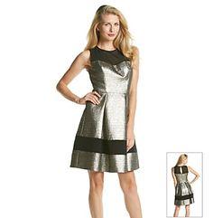 Vince Camuto® Illusion Neck Metallic Party Dress