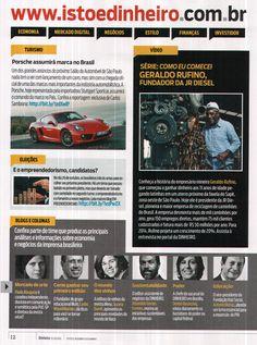 Título: Série: Como eu comecei, Geraldo Rufino, fundador da JR Diesel. Veículo: revista IstoÉ Dinheiro. Data: 22/10/2014. Cliente: JR Diesel.