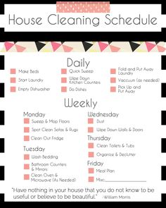 Basic Cleaning Schedule Printable