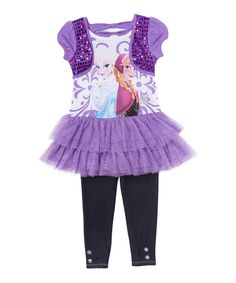 Look at this Frozen Elsa & Anna Purple Dress & Leggings - Toddler & Girls on #zulily today!