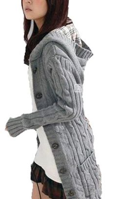 5b3ba705a43919 MineTom Womens Cable Knit Sweater With Button Grandfather Long Hooded Poor  Coat