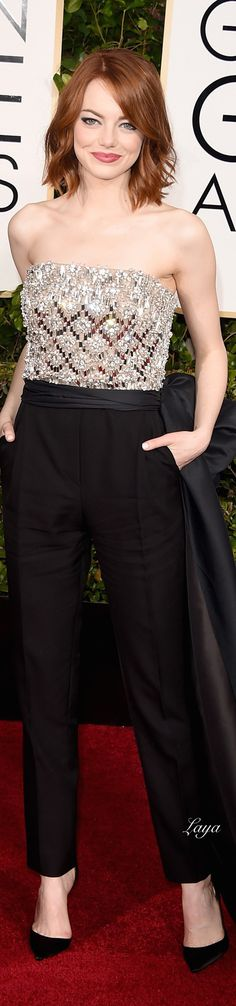 Emma Stone, in Lanvin