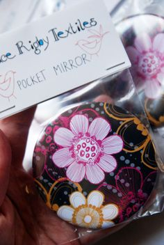 Big Blooms Pocket Mirror by GraceRigbyTextiles on Etsy