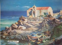 John Pike - Greece fisherman's chapel on isle of Mykonos Watercolor Paintings, Watercolors, Oil Paintings, Greece Painting, Mykonos Island, International Artist, Environment Design, Greek Islands, Art Techniques