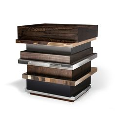 Hudson Furniture - LIPSTICK. Multi Layered Materials: H9 Wood top, Bronze, Lacquer, Polished Stainless Steel