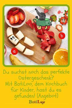 Deine Kinder sind kleine Abenteuer und wollen in der Küche mithelfen? Mit BatiLoo, dem neuen Koch-Lese-Abenteuer erleben sie bunte Geschichten und lernen spielerisch nach Farben kochen! Tricks, Healthy Eating For Kids, Kid Recipes, Gifts For Children, Kid Games