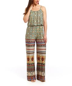 Another great find on #zulily! Meetu Magic White & Yellow Arabesque Jumpsuit by Meetu Magic #zulilyfinds